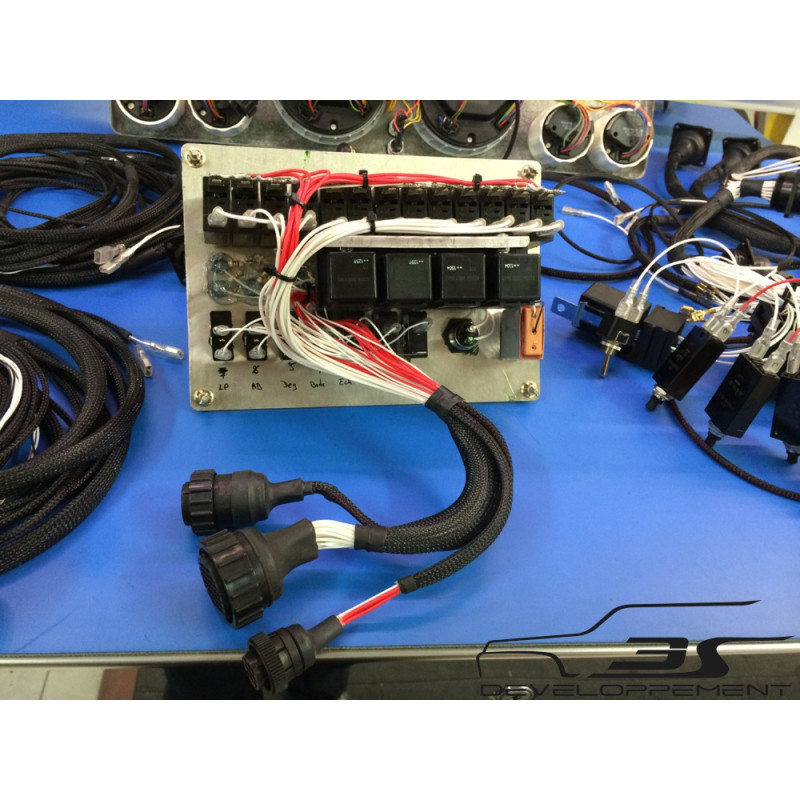 Faisceau électrique complet comportant platine interrupteurs, platine support relais, et faisceau.